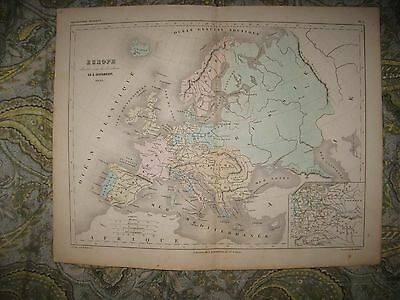 Fine Antique 1851 Europe Handcolored Map Russia Italy France England Germany Nr