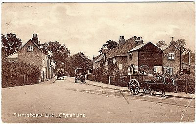 Rare Postcard Horse Drawn Wagons-Thatched Roof House-Flamstead End-Cheshunt 1913
