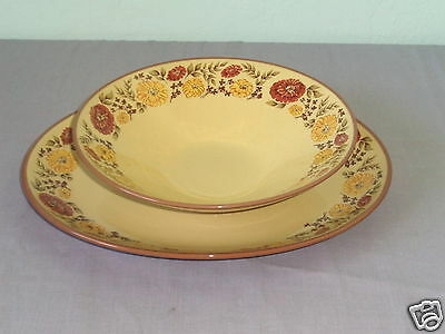 Taylor Smith Indian Summer Yellow & Brown Flower Ceramic Ironware Bowl & Platter
