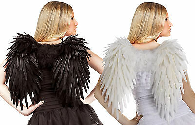 Deluxe Feather Angel Wings - Black or White - Halloween Costume Accessory - fnt