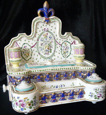 SPECTACULAR 1800s French Antique Ink Well Hand Painted Faience Standish