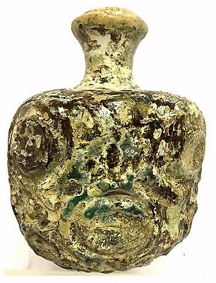Large Ancient Islamic Glass Jar  .