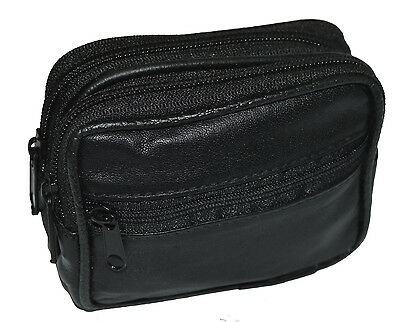 Belt Pouch With 3 Zipper pockets Genuine Leather - Can hold cards, money & more