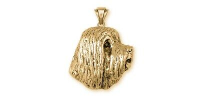 Bearded Collie Pendant 14k Yellow Gold Vermeil Dog Jewelry BCL4-PVM