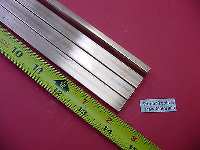 "4 Pieces 1/4""x 1/2"" C110 COPPER BAR 14"" long Solid Flat .25"" Bus Bar Stock H02"