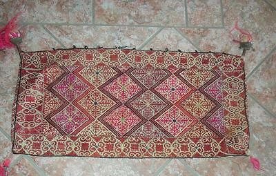 Antique Central Asian tent cushion embroidered fabric buttons 31.5 x 14 inches