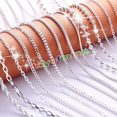 """Fashion 16""""/18"""" Women 925 Solid Sterling Silver Plated Chain Necklace"""