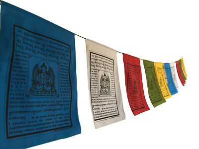 Large Handmade Tibetan Buddha of compassion Prayer flags Tibetan with English Tr