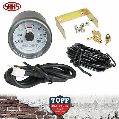 SAAS Turbo Boost Vacuum Gauge White Face Dial 52mm Multi Colour + Fitting Kit