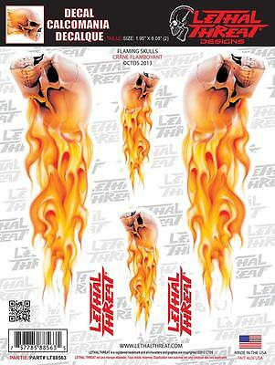 LETHAL THREAT Motorcycle Bike Board Car PC Decal Sticker FLAMING SKULLS LT88563