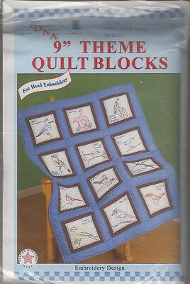 """1 Jack Dempsey  """"Birds""""  Stamped Embroidery Quilt Blocks 737-533"""