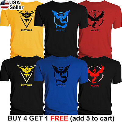 Pokemon Go T-Shirt Team Mystic Instinct Valor Graphic Tee Pokeball Pikachu Game