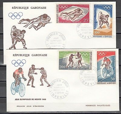 """"""" Gabon, Scott cat. C70-C73. Summer Olympics issue on 2 First day covers."""