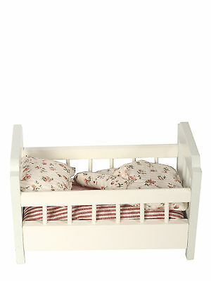 Maileg Miniature Furniture - Wooden Cot Bed w/Bedding For Micro Bunnies & Mice