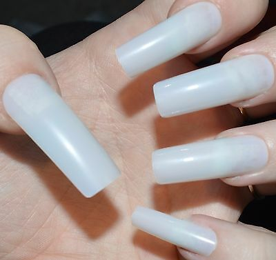 48 X False Nails Full Cover Extra Long Straight Natural Sizes 0 To 11 Uk Seller