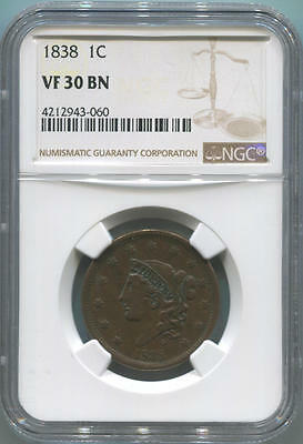 1838 Coronet Head Large Cent, NGC VF30 Brown.