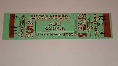 Alice Cooper Unused Concert Ticket 1975
