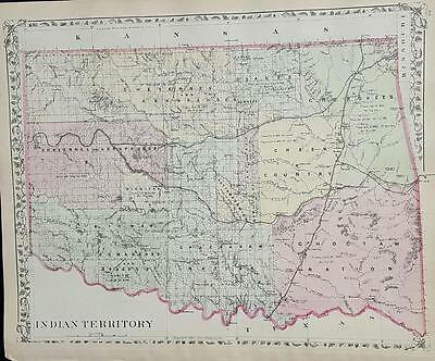Map of Colorado and Indian Territories Augustus Mitchell c 1881.
