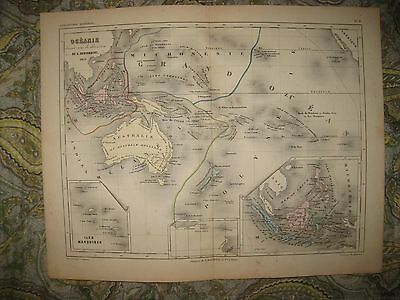 Antique 1851 Oceania Handcolored Map Australia New Holland Marquesas Hawaii Rare