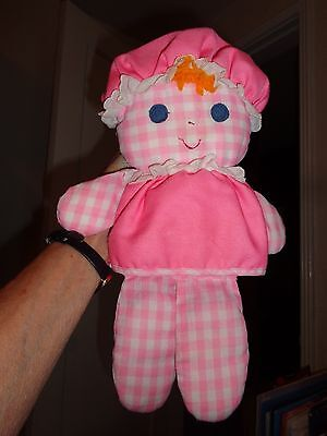 Vintage Fisher Price LOLLY Doll 1975 Pink Check Rattle Hat 420 Mexico Felt Eyes