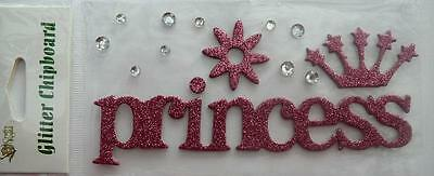 """2 for the price of 1 -  Pink Glitter Chipboard Embellishment """"princess"""""""