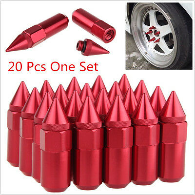 20 Pcs Red Spiked Aluminum Mounted M12X1.25 Autos Wheels Lug Nuts Extended Tuner