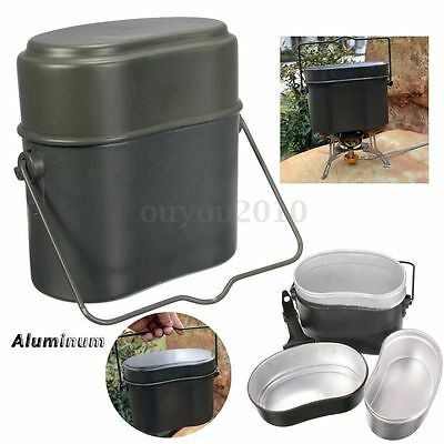 New Army Soldier Military Mess Set Lunch Box Kit Canteen Kettle Pot Bowl Picnic