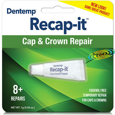 Dentemp Recapit Repair Loose Caps & Crowns No Mix Dental Cement 1g 8+ Repairs