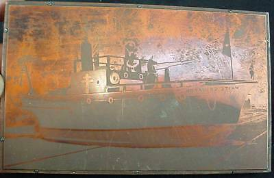 Old Copper Printers Block White Crusader Armed WW2 Coastal Ship With Deck Gun