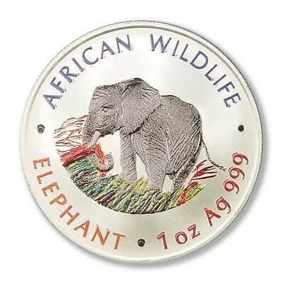 Zambia African Elephant Matte Proof Silver Crown 5000 Kwacha 2000 Color