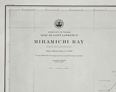 1889 Antique Nautical Sea Sailing Chart Map Miramichi New Brunswick US Navy