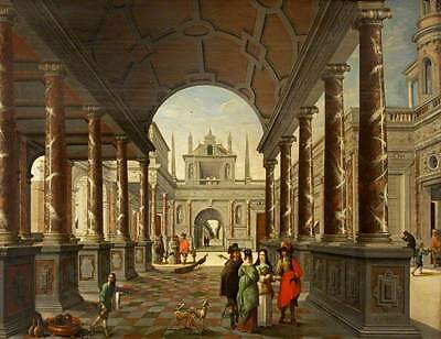 "perfect oil painting handpainted on canvas ""Palace and Elegant Figures""N4687"
