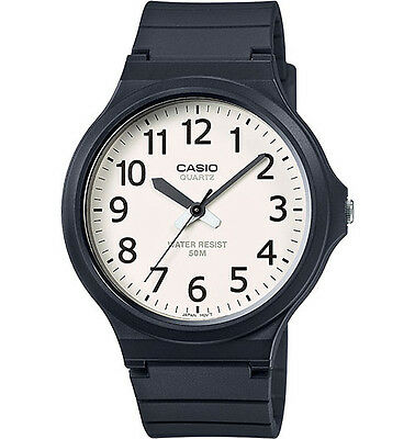 Casio MW240-7B Men's Black Resin Band Easy Reader Whte Dial 3-Hand Watch