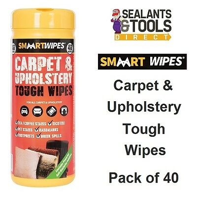 Smaart Carpet Upholstery Tough Cleaning Wipes 40pk 892745 Home Vehicle Car