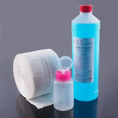 1000 ml Nagel Cleaner Entfetter + Dispenser 175 ml + 500 Zelletten Nail Spar Set