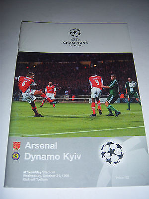 ARSENAL v DYNAMO KYIV 1998/99 - CHAMPIONS LEAGUE - FOOTBALL PROGRAMME