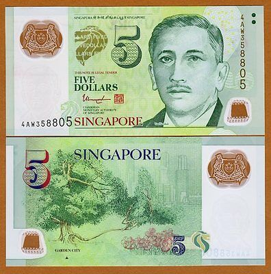 Singapore $5 ND (2014) Polymer P-New, New Signature UNC   one triangle