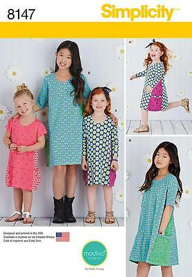 Simplicity Sewing Pattern Child's & Girls' Knit Dresses Size 3 - 14 8147
