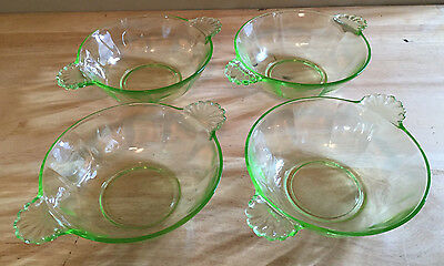 Set of 4 Green Yellow Glass Berry Bowls with Shell Handles Anchor Hocking