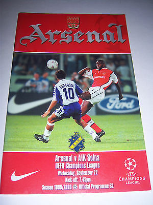 ARSENAL v AIK SOLNA 1999/2000 - CHAMPIONS LEAGUE - FOOTBALL PROGRAMME