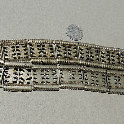 17 rectangular traditional silver beads from a belt akha thailand #27