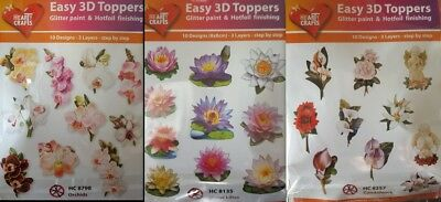 Easy 3D Die Cut Card Toppers Flowers Orchids Water Lilies Condolence 10 Designs