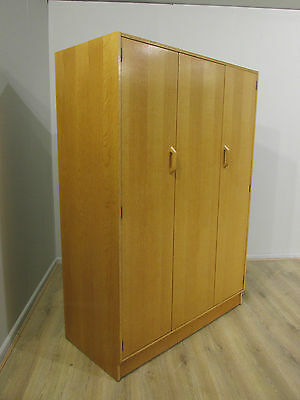 60's VINTAGE RETRO OAK G PLAN DANISH STYLE BY-FOLD THREE DOOR WARDROBE