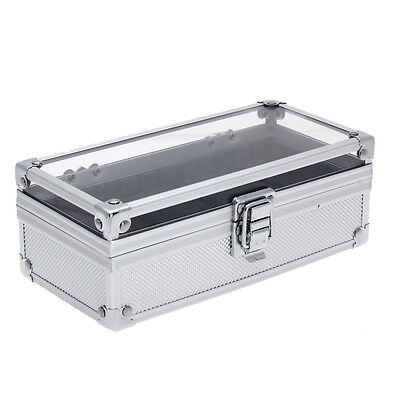Alloy 4 Grids Watch Display Box Storage Holder Clear Top Fashion Travel