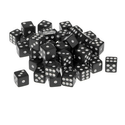 12mm 50Pcs Opaque Six Sided Spot Dice Games D6 RPG Playing Toys Black