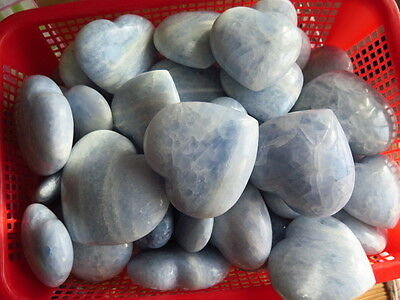 WHOLESALE PRICE! TOP!!! 2.2lb  NATURAL BLUE CALCITE CRYSTAL PUFFY HEART