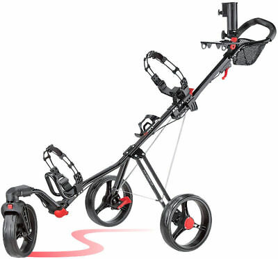 Caddytek Superlite Swivel 360 ALU 3 Rad Golf Push Trolley Black Modell 2017