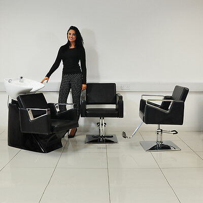 Black 3 Piece Hair Salon Wash Basin And Hairdressing Barber Chair Furniture Set