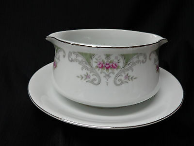 Alberon - Translucent Fine China - Gravy Bowl with Attached Saucer