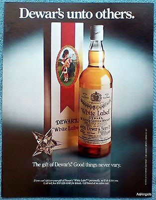 1982 Dewars White Label Whisky The Gift Good Things Never Vary Unto Others ad